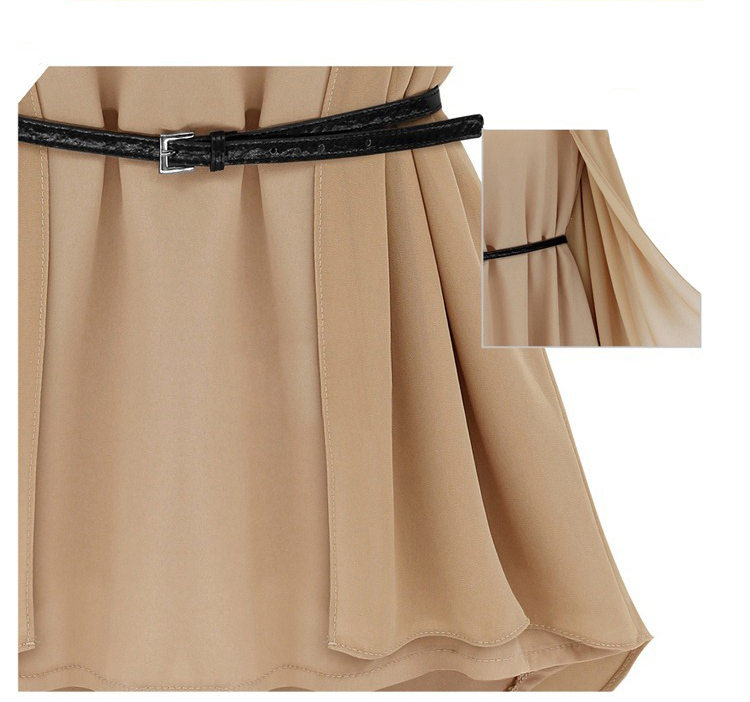 Khaki Patchwork Irregular Zipper Belt Sleeveless Chiffon Blouse