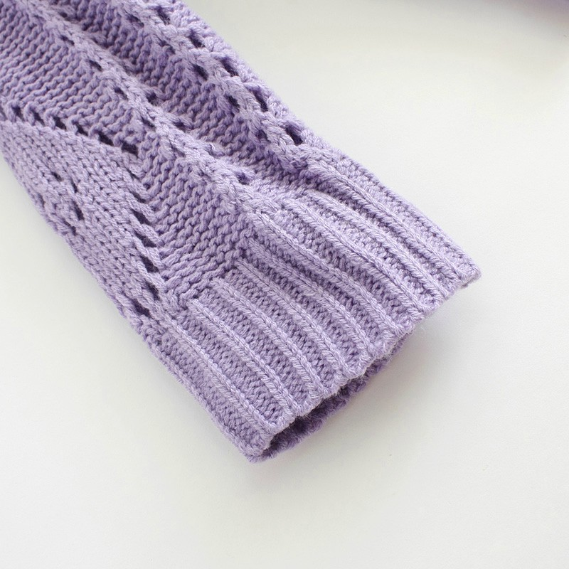 Purple Geometric Hollow-out Round Neck Blend Sweater